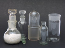 Chemical ware. From glass on a black background Royalty Free Stock Photos