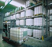 Chemical warehouse with a forklift stock images