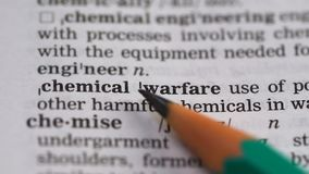 Chemical warfare phrase definition in vocabulary, usage of lethal substances. Stock footage stock footage
