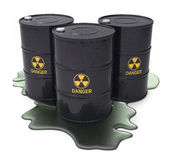 Chemical waste in black barrels Stock Photo