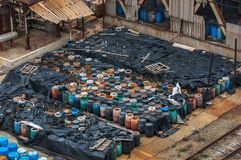Chemical waste dump with a lot of barrels Royalty Free Stock Photo