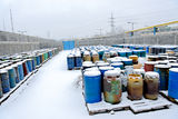 Chemical waste dump with a lot of barrels Royalty Free Stock Photography