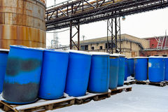 Chemical waste dump with a lot of barrels Stock Photo