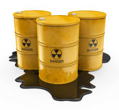 Chemical waste in yellow barrels Stock Photo