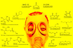 Chemical weapons, chemical structures: sarin, tabun, soman, VX, lewisite, mustard gas, tear gas, chlorine. Chemical weapons, chemical structures. military Stock Photo