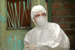 Chemical worker in fear Royalty Free Stock Photos