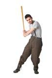 Chemical workerwith baseball bat Stock Photos