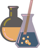 Chemicals in beakers Royalty Free Stock Image