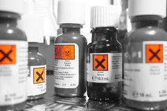 Chemicals bottles A Royalty Free Stock Photography
