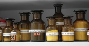 Chemicals in glass bottles Royalty Free Stock Photography