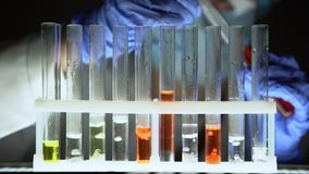 Chemicus die rode vloeistof in reageerbuizen giet en reactie, vals medicijn controleert stock videobeelden