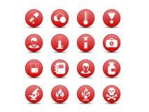 Chemiczne czerwone ikony Zdjęcie Royalty Free