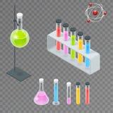 Chemiczne próbnej tubki piktograma ikony ustawiać Erlenmeyer kolba, odpędowa kolba, wolumetryczna kolba, próbna tubka laboratoriu ilustracja wektor