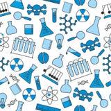 Chemiczny bezszwowy wzór, chemiczny laboratorium ximpx bezszwowego wzór, tubka i zlewka, kolbiastą i próbną royalty ilustracja