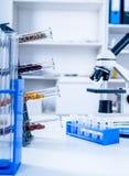 Chemiczny laboratorium zapasy żywności Jedzenie w laboratorium, dna modyfikuje GMO Genetycznie zmodyfikowany jedzenie w lab zdjęcia stock