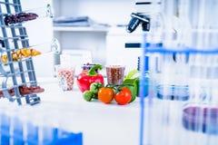 Chemiczny laboratorium zapasy żywności Jedzenie w laboratorium, dna modyfikuje GMO Genetycznie zmodyfikowany jedzenie w lab zdjęcia royalty free
