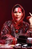 Chemie Aziatische Arts Woman met de Rode omhoog luim van Tone Fashion Make Royalty-vrije Stock Fotografie