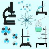 Chemie-Begriffssatz-Vektor-Illustration Lernen des in Verbindung stehenden Materials auf hellblauem Hintergrund Stockfoto