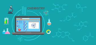 chemie Chemisch experiment in het laboratorium Vector illustratie stock illustratie