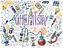 Chemie des Ikonensatzes Tafel mit Elementen, Formeln, Atom, Testrohr und Laborausstattung Labor vektor abbildung
