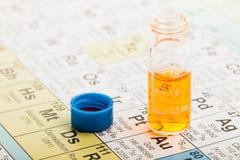 Chemie: Periodiek lijst en flesje Stock Foto