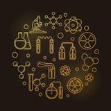 Chemie van Radioactieve Elementen vector lineaire illustratie stock illustratie