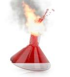Chemieflasche mit dem Brennen der roten Flüssigkeit Lizenzfreies Stockfoto
