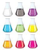 Chemieflascheansammlung Stockfoto
