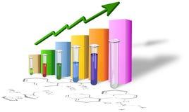 Chemiefortschrittsdiagramm mit Reagenzgläsern Stockfotografie
