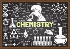 Chemiehand gezeichnet auf Tafelschablone Stockfotografie