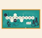 Chemiehintergrund, Chemieaufschrift Auch im corel abgehobenen Betrag Stock Abbildung