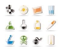 Chemieindustrieikonen Lizenzfreie Stockfotos