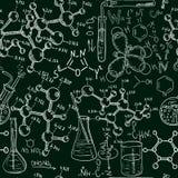 Chemielabornahtloses Muster der Wissenschaft altes Flüchtige Art des Weinlesevektor-Hintergrundes Stockfotografie