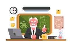 Chemielehrer, der auf Tafelhintergrund sitzt vektor abbildung