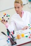 Chemielehrer, Molekülstruktur im Klassenzimmer beobachtend Lizenzfreie Stockfotos