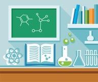 Chemieles in het chemielaboratorium, blauwe vlakke illustratie Royalty-vrije Stock Fotografie