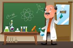 Chemieprofessor die bij het laboratorium werken Stock Afbeelding
