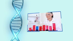 Chemievideos mit DNA-Helix stock footage
