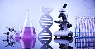 Chemiewetenschap, de achtergrond van het Laboratoriumglaswerk royalty-vrije stock afbeeldingen