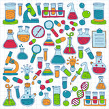 Chemii farmakologii Naturalnych nauk doodle Wektorowy set Zdjęcia Royalty Free