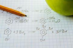 Chemii nauki formuły na bielu prześcieradle Fotografia Stock