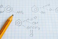 Chemii nauki formuły na bielu prześcieradle Obraz Stock
