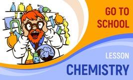 Chemii pojęcia lekcyjny sztandar, kreskówka styl ilustracji