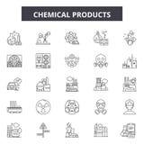 Chemikalie Produktserie Ikonen, Zeichen, Vektorsatz, Entwurfsillustrationskonzept stock abbildung
