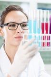 Chemiker, der Reagenzgläser betrachtet Stockfotografie