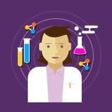 Chemikerwissenschaftlerlaborvektor-Illustrationsfrau Lizenzfreies Stockfoto