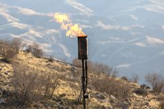 Cheminée à gaz photos libres de droits