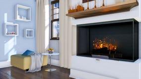 Cheminée brûlante dans le salon minimaliste moderne illustration de vecteur