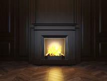 cheminée 3d dans la chambre Image stock