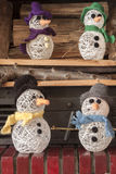 Cheminée de bonhomme de neige de métiers de décorations de Noël Images stock